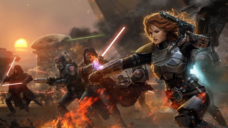 star wars futuristic battle fire lightsabers weapons sith armor artwork mandalorian the old republic_www.wallpaperhi.com_2